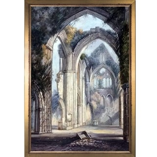 Joseph William Turner 'Tintern Abbey' Hand Painted Framed Canvas Art