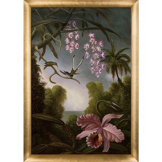 Martin Johnson Heade 'Orchids and Spray Orchids with Hummingbird, 1890' Hand Painted Framed Canvas Art