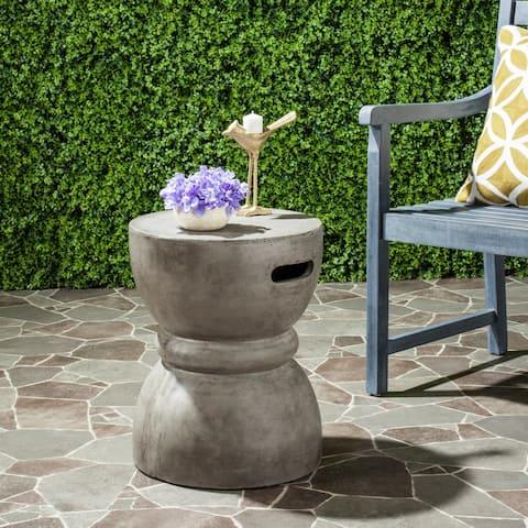 "Safavieh Haruki Concrete Indoor/ Outdoor Accent Table (Dark Grey) - 13.7"" x 13.7"" x 17.7"""