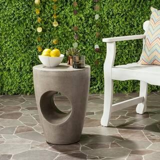 "Safavieh Aishi Concrete Indoor/ Outdoor Accent Table (Dark Grey) - 14.1"" x 14.1"" x 17.7"""