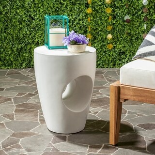Safavieh Aishi Concrete Indoor/ Outdoor Accent Table (Ivory)