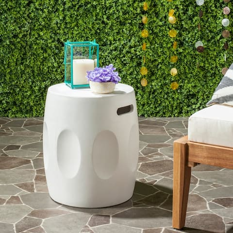 "Safavieh Zuri Concrete Indoor/ Outdoor Accent Table (Ivory) - 15.7"" x 15.7"" x 17.7"""
