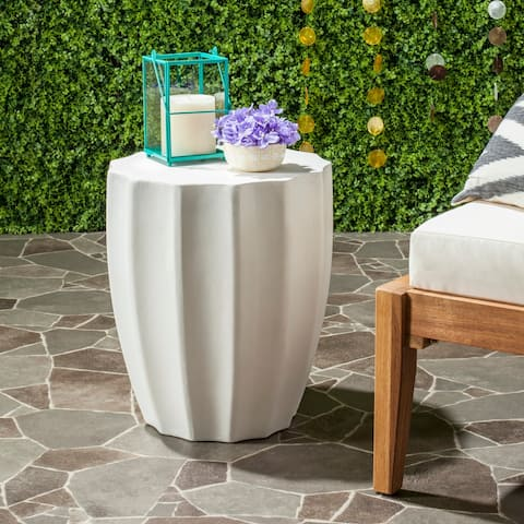 "Safavieh Jaslyn Concrete Indoor/ Outdoor Accent Table (Ivory) - 15.3"" x 15.3"" x 17.7"""
