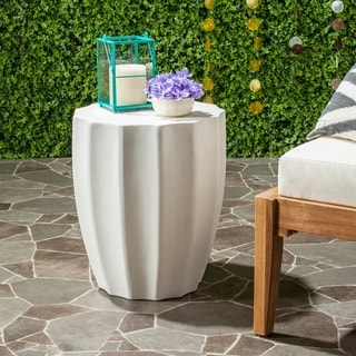 """Safavieh Jaslyn Concrete Indoor/ Outdoor Accent Table (Ivory) - 15.3"""" x 15.3"""" x 17.7"""""""
