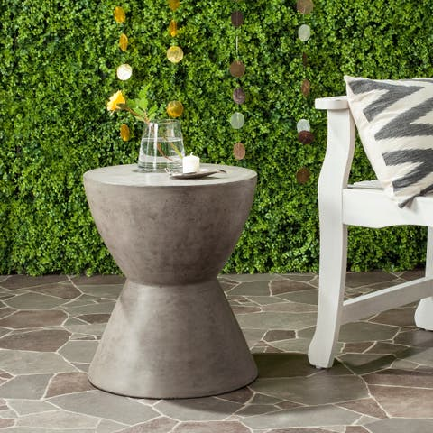 "Safavieh Athena Concrete Indoor/Outdoor Accent Table (Dark Grey) - 14.9"" x 14.9"" x 17.7"""