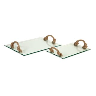 Hasbrouck Glass Tray with Jute Handles (Set of 2)