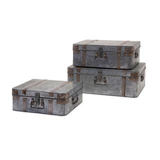 Teri Galvanized Suitcases (Set of 3)