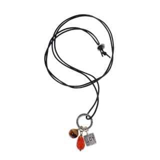 Silver 'Joy Glistens' Carnelian Tiger's Eye Necklace (Indonesia)