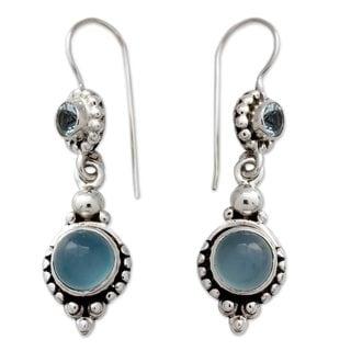 Sterling Silver 'Blue Reverie' Topaz Chalcedony Earrings (India)