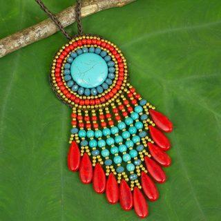 Handmade Brass 'Waterfall Sun' Calcite Necklace (Thailand)