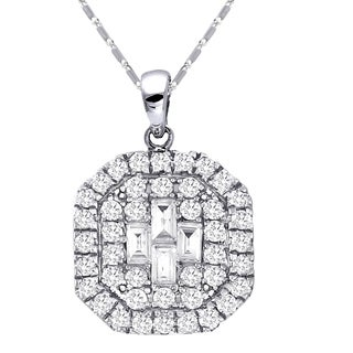 Beverly Hills Charm 14k White Gold 2/5ct TDW Cluster Diamond Necklace (H-I, SI2-I1)