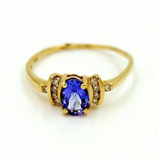 14k Yellow Gold 1/10ct TDW Diamond and Tanzanite Fashion Ring (G-H, I1)