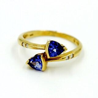 14k Yellow Gold Diamond and Tanzanite Fashion Ring