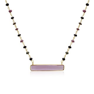 Yellow Gold Over Sterling Silver 27 TGW Pink Tourmaline Bar Necklace, 18 Inches