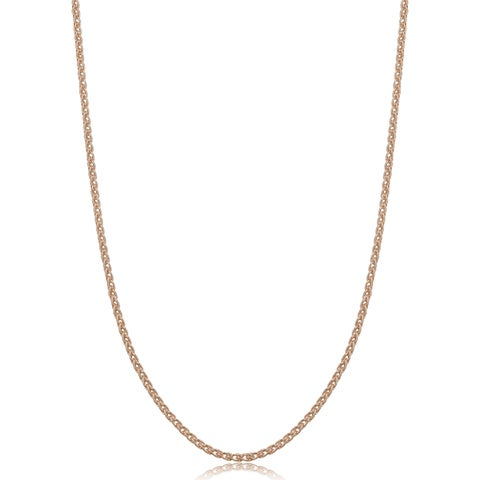 Fremada Italian Rose Gold Over Sterling Silver 1.5-mm Round Wheat Chain Necklace (14 - 36 inches)