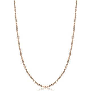 Fremada Italian Rose Gold Over Sterling Silver 1.5-mm Round Wheat Chain Necklace (14 - 36 inches) (More options available)