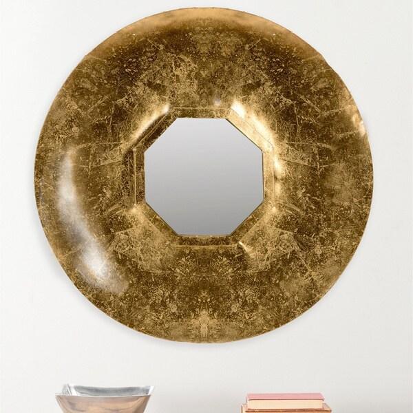 30 Inch Round Mirror Part - 26: Safavieh Mayan Gold Antique Gold 30-inch Round Mirror