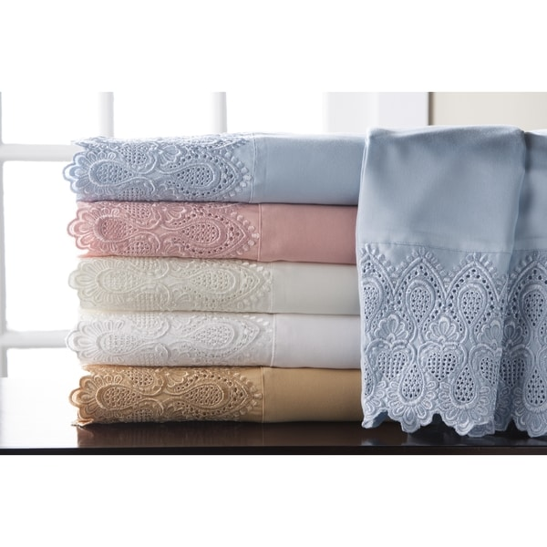 Royalty Lace 4-Piece 600 Thread Count Cotton Rich Sheet Set