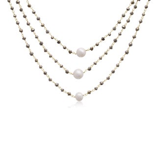 Yellow Gold Over Sterling Silver 90 TGW Pyrite and Pearl Triple Strand Necklace, 20 Inches (Option: Pyrite)