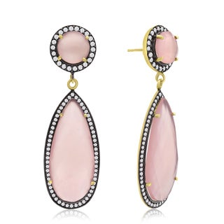 14k Yellow Gold Over Sterling Silver 64ct Pear Shape Rose Quartz and Cubic Zirconia Halo Dangle Earr