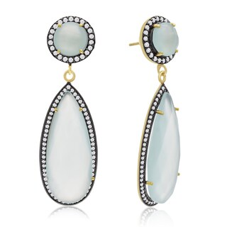 14k Yellow Gold Over Sterling Silver 64ct Pear Shape Green Chalcedony and Cubic Zirconia Halo Dangle