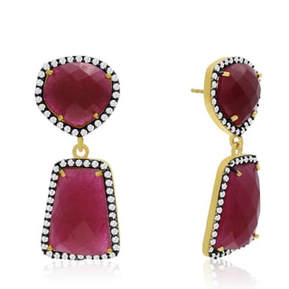Yellow Gold Over Sterling Silver 56 TGW Ruby and Simulated Diamond Earrings