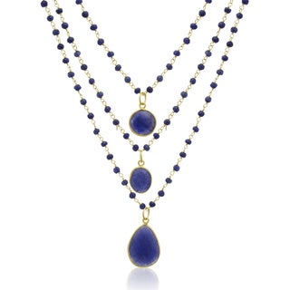 Yellow Gold Over Sterling Silver 93 TGW Sapphire Triple Strand Beaded Necklace, 26 Inches - Blue