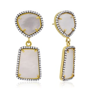 14k Yellow Gold Over Sterling Silver 32ct Mother of Pearl and Cubic Zirconia Earrings