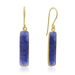 Yellow Gold Over Sterling Silver 11 TGW Sapphire Bar Earrings, 1 Inch - Blue
