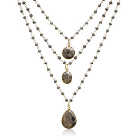 Yellow Gold Over Sterling Silver 138 TGW Pyrite Triple Strand Beaded Necklace, 26 Inches - Copper