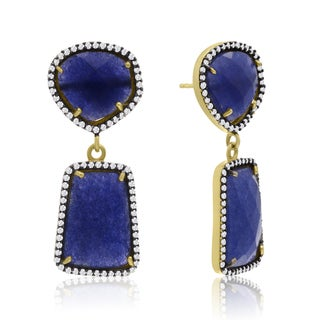 14k Yellow Gold Over Sterling Silver 56ct Sapphire and Cubic Zirconia Earrings