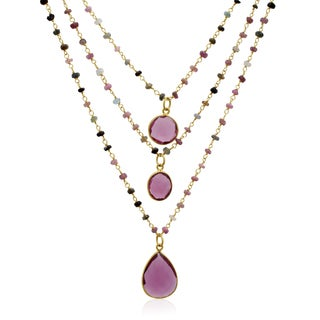 Yellow Gold Over Sterling Silver 24 TGW Pink Tourmaline Triple Strand Beaded Necklace, 26 Inches