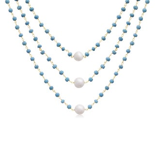 14k Yellow Gold Over Sterling Silver 41ct Turquoise and Pearl Triple Strand Necklace - 20 Inches