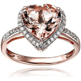 10k Rose Gold Morganite and Diamond Heart Halo Engagement Ring