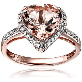 Pinctore 10k Rose Gold Morganite and Diamond Heart Halo Engagement Ring
