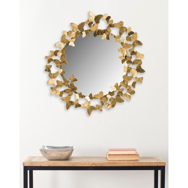 "Safavieh Ruthie Butterfly Gold 27-inch Decorative Mirror - 27"" x 27"" x 2.5"". Opens flyout."