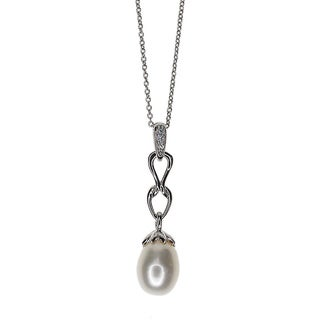 Kabella Sterling Silver Freshwater Pearl and Cubic Zirconia Accent Link Pendant (8mm)