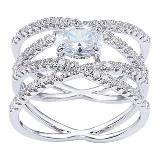 Simon Frank 1.01ct. TDW Oval-cut Rhodium Overlay CZ Bridal Ring