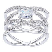Simon Frank Designs 1.01ct. TDW Oval-cut Rhodium Overlay CZ Engagement / Bridal Inspired  Ring - Silver