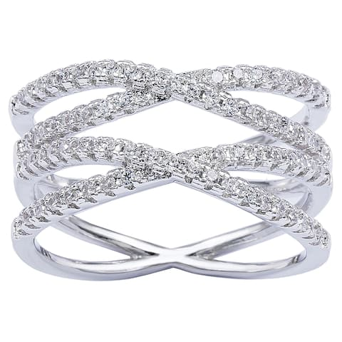 Silver Cross Over Cubic Zirconia Double 'X' Infinity Ring by Simon Frank Designs