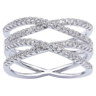 Simon Frank Silvertone Classic CZ Double 'X' Infinity Ring - Silver