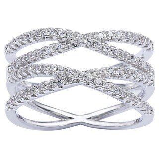 Simon Frank Designs Cross Over CZ Double 'X' Infinity Ring - Silver