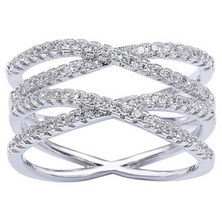 Simon Frank Designs Cross Over CZ Double 'X' Infinity Ring - Silver (4 options available)