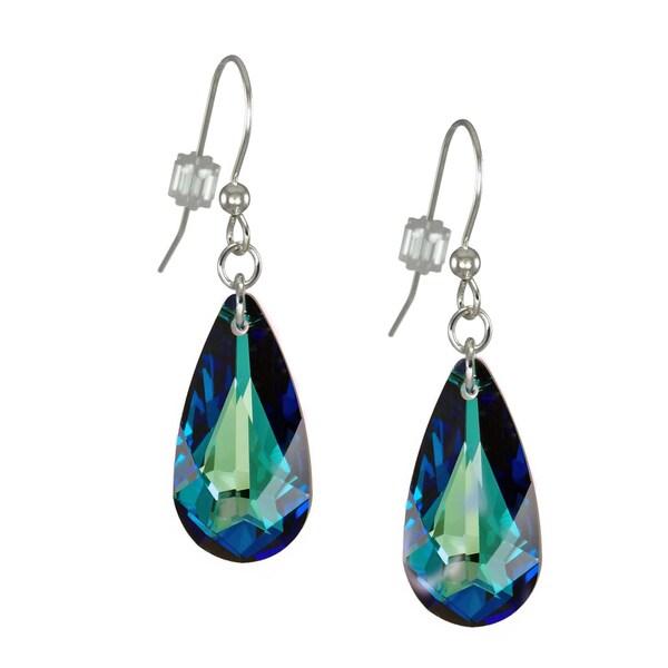 Handmade Jewelry By Dawn Bermuda Blue Swarovski Crystal Teardrop Sterling Silver Earrings Usa
