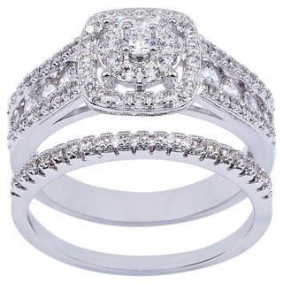 Link to CZ Bridal Wedding Ring and Band Set Silver Ring by Simon Frank Designs Similar Items in Rings