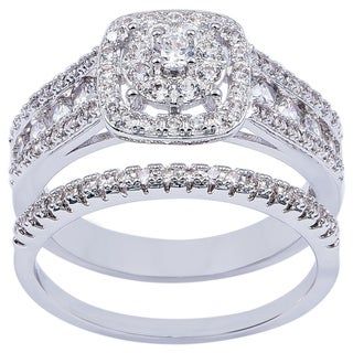 Simon Frank Designs 2-piece CZ Bridal Inspired Wedding Ring and Band - Silver