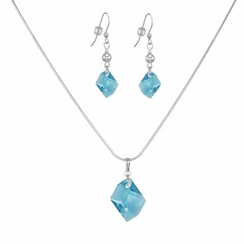 Handmade Jewelry by Dawn Aquamarine Cosmic Swarovski Crystal Sterling Silver Necklace and Earring Set (USA)