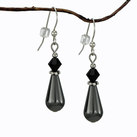 Handmade Jewelry by Dawn Hematite Teardrop Black Crystal Earrings (USA)