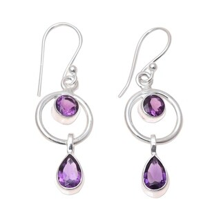 Handcrafted Sterling Silver 'Modern Lilac' Amethyst Earrings (India)