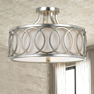 Crystorama Libby Langdon Graham Collection 3-light Antique Silver Flush Mount